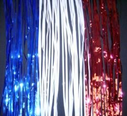 29in x 14ft Metallic Red/ Blue/ Silver Table Skirt