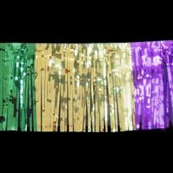 12ft x 12in Metallic Purple Green and Gold Section Fringe