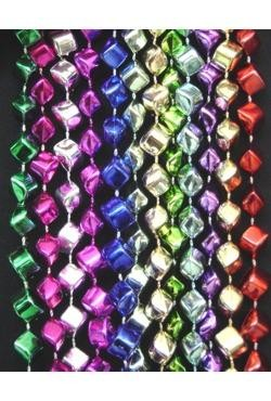 48in Metallic 12 Assorted Color Diamond Cut Pyramid Beads