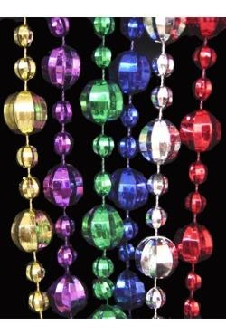 48in 20mm w/ 10mm Disco Ball Shape  Metallic 6 Assorted Color Beads