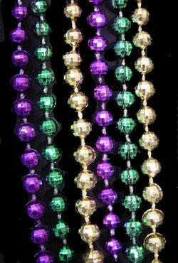 42in 7mm Metallic Purple/ Green/ Gold Disco Ball Beads