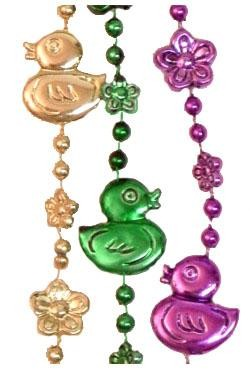 36in Metallic Purple/Green/Gold Duck/Flower Beads