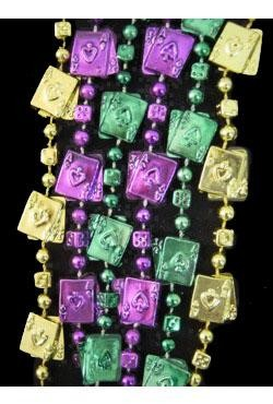 48in Metallic Purple/ Green/ Gold Casino w/ Dice/ Card Beads