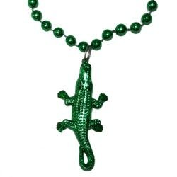 33in Green Alligator Medallion Beads