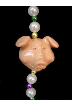 Cute Pig Head Necklace <br>w/ Pearl Beads