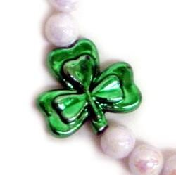 10mm White AB Beads w/ 3-30mm Shamrock/ Clovers St Patricks Bracelets