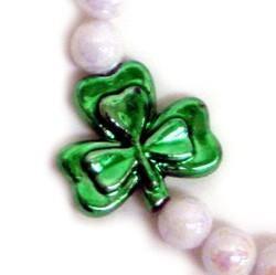 10mm White AB Beads w/ 3-30mm Shamrock/ Clovers St Patrick's Day Bracelets