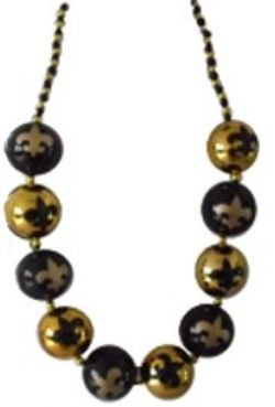 48in 60mm Big Balls Necklace: Fleur-De-Lis