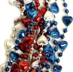 33in Metallic Red/ Blue/ Silver Heart Beads