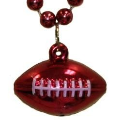 7mm 33in Burgundy Beads with Football Medallion