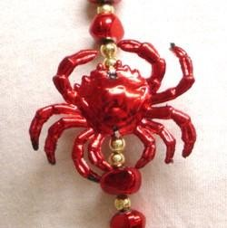 40in Crab with Red Rock Beads