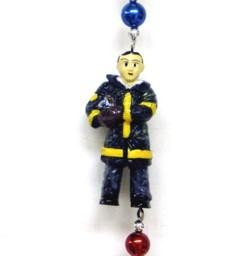 42in  Polyresin/ Ceramic Fireman Necklace w/  Metallic Red/ Blue/ Silver Beads
