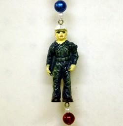 42in Polyresin/ Ceramic United States Airforce Necklace w/ Metallic Red/ Blue/ Silver Beads