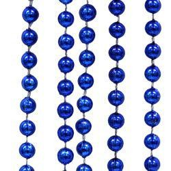 7mm 33in Round Metallic Blue (Royal) Mardi Gras Beads
