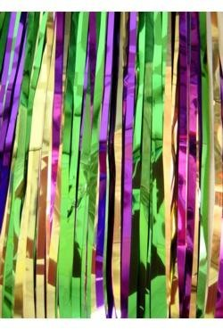 29in x 14ft Purple/ Green/ Gold Metallic Table Skirt