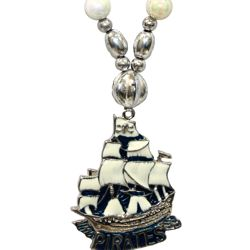 36in metal enamel Pirate Ship Medallion Necklace
