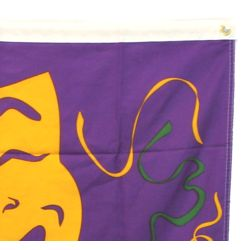2ft x 3ft Purple/ Green/ Gold Mardi Gras Comedy/ Tragedy Face Banner