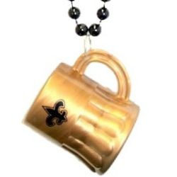 Fleur-De-Lis Beer Mug Necklace - black metallic beads