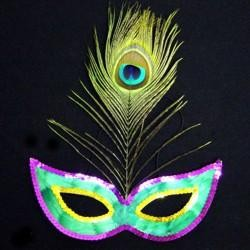 Assorted Purple Green and Gold Masquerade Mask with a Peacock Feather
