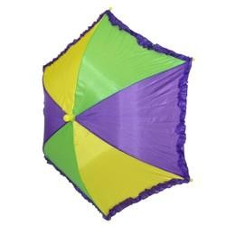 14in x 6in Nylon Purple Green Yellow Parasol/ Umbrella w/ Ruffles