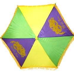 14in x 6in Purple Green Yellow Comedy/ Tragedy Parasol/ Umbrella w/ Fringe