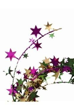12ft Metallic Purple Green Gold Star Wire Garland