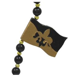 42in 12mm Black Beads w/6mm Gold Spacers w/ Fleur de lis Design
