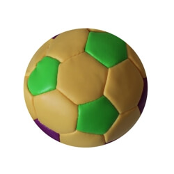 2.5in Purple Green Yellow Vinyl Soccer Ball w/ Plastic Bean Kickball