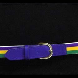 Adult Mardi Gras Striped Belt Purple Green Yellow