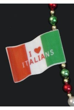 42in Italian Flag w/ Red/ Green/ White Beads