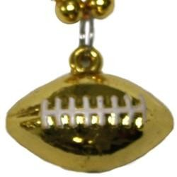 7mm 33in Gold Beads with Football Medallion
