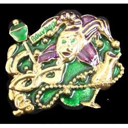 1.5in x 1.5in Mardi Gras Party on Bourbon Pin/ Brooch