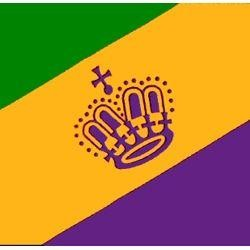3ft x 5ft Purple/ Green/ Gold Polyester Mardi Gras Flag w/ Crown