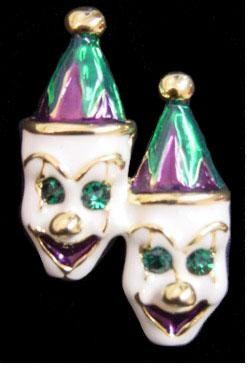 1in x 1.5in Purple/ Green/ Gold Double Clown Face Pin/ Brooch