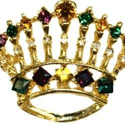 1 1/2inTall  x 1 1/2in Wide Purple/ Green/ Gold Crown Pin/ Brooch w/ Rhinestones