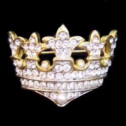 2in x 1in Crown Pin/ Brooch w/ Rhinestone