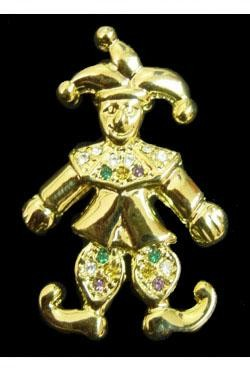 2.5in x 2in Jester Pin/ Brooch w/ Rhinestone