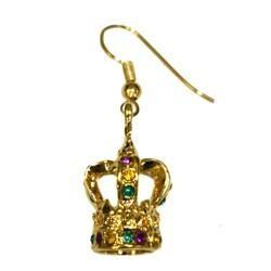 3D Purple/ Green/ Gold Rhinestone Crown Earrings