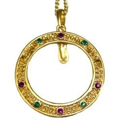 30in Doubloons Holder w/ Purple Green Gold Stone