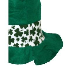 13in St Patricks Green/ White Shamrock/ Clover Stove Top Hat