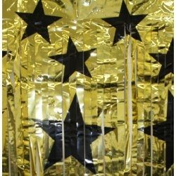 8ft Long x 3ft Wide Gold w/ Black Metallic Star CleamN Curtain