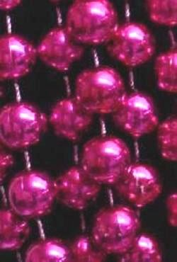 48in 18mm Round Metallic Hot Pink Beads