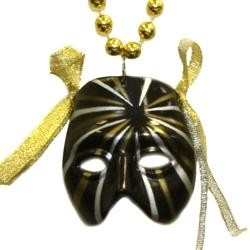 Black Striped Mask Necklace