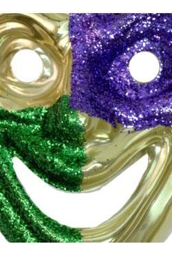 9in x 7in Purple and Green Glittered on Gold Joker Mask