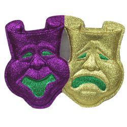 21in x 15in Purple Green Gold Glitter Comedy/ Tragedy Face Wall Plaque Decoration