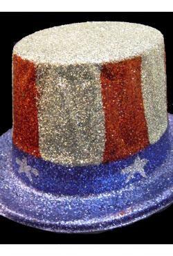 US Flag Top Hat w/ Glitter
