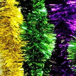 9ft Per Color Purple Green or Gold Wavy Tinsel Garland