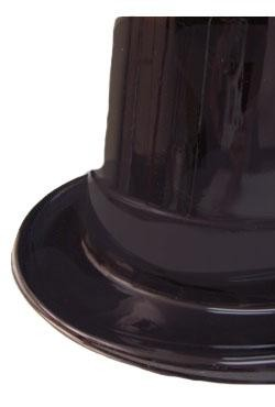 5in Tall Black Plastic Top Hat w/ 1 1/2in Brim