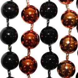 7mm 33in Black and Metallic Orange Mardi Gras Beads