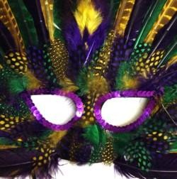 Purple Green and Gold Spotted Feather Masquerade Mask With Peacock Feather And Purple Sequin Trim Ar